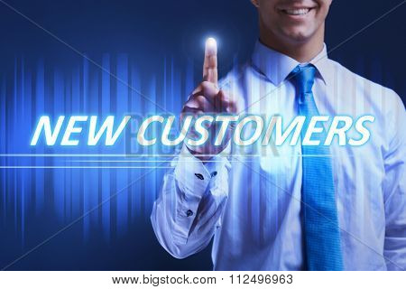 Businessman pressing new customers button on virtual screen. Internet and networking concept.