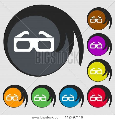 3D Glasses Icon. Symbols On Eight Colored Buttons.