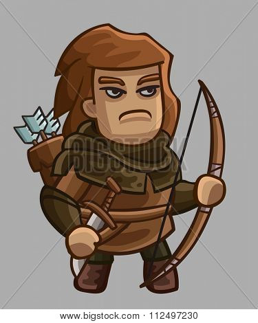 Medieval game character archer. Vector illustration