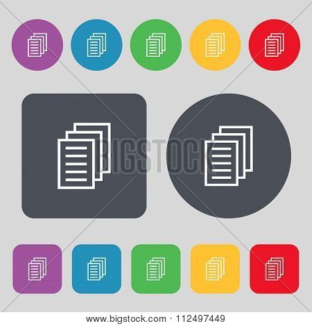 Copy File, Duplicate Document Icon Sign. A Set Of 12 Colored Buttons. Flat Design.