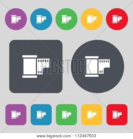 35 Mm Negative Films Icon Sign. A Set Of 12 Colored Buttons. Flat Design.