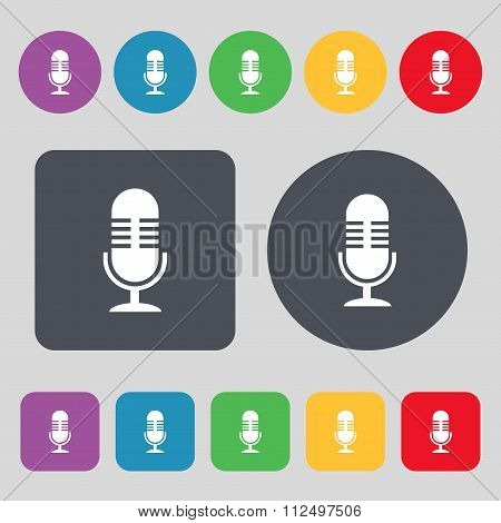 Microphone Icon Sign. A Set Of 12 Colored Buttons. Flat Design.