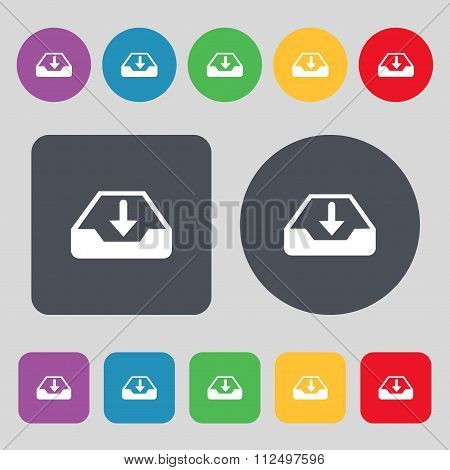 Restore Icon Sign. A Set Of 12 Colored Buttons. Flat Design.