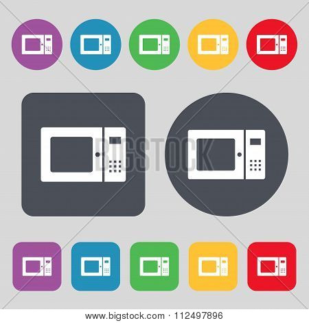 Microwave Icon Sign. A Set Of 12 Colored Buttons. Flat