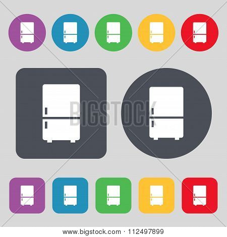 Refrigerator Icon Sign. A Set Of 12 Colored Buttons. Flat