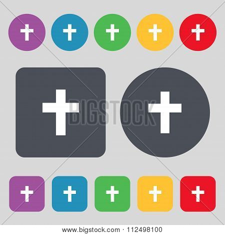 Religious Cross, Christian Icon Sign. A Set Of 12 Colored Buttons. Flat
