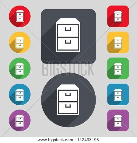 Nightstand Icon Sign. A Set Of 12 Colored Buttons And A Long Shadow. Flat