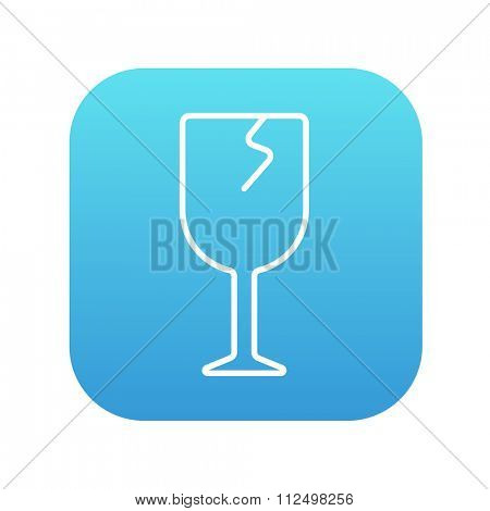 Cracked glass line icon for web, mobile and infographics. Vector white icon on the blue gradient square with rounded corners isolated on white background.