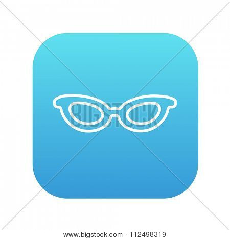 Eyeglasses line icon for web, mobile and infographics. Vector white icon on the blue gradient square with rounded corners isolated on white background.