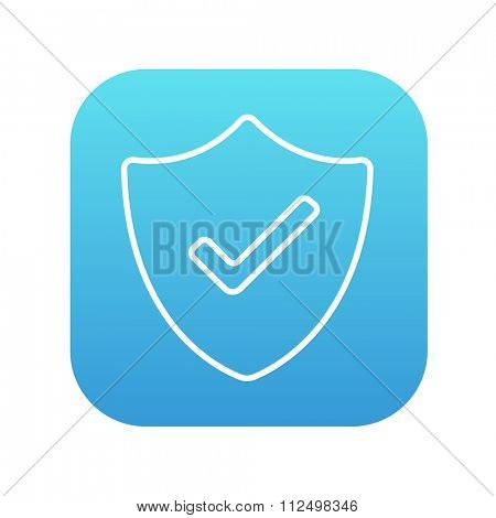 Quality is confirmed sign line icon for web, mobile and infographics. Vector white icon on the blue gradient square with rounded corners isolated on white background.