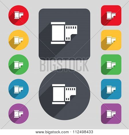 35 Mm Negative Films Icon Sign. A Set Of 12 Colored Buttons And A Long Shadow. Flat Design.