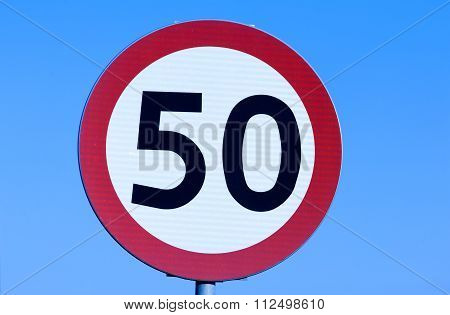 Speed Limit 50 Kph Road Sign.