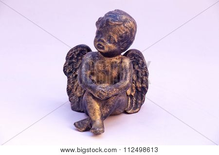 Angel Figurine On White Background.