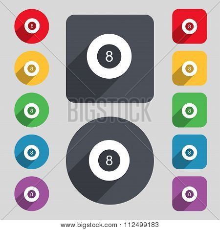 Eightball, Billiards  Icon Sign. A Set Of 12 Colored Buttons And A Long Shadow. Flat Design.