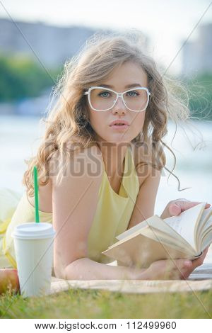 Romantic girl with book