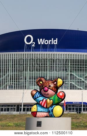 View of O2 World arena and a sculpture of a bear, symbol of Berlin made by Romero Britto, Berlin, Ge