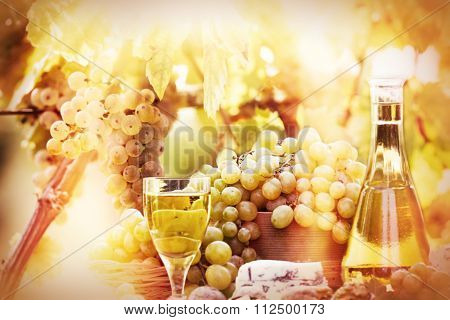 Soft focus on grapes and wine