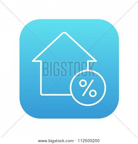 House with discount tag line icon for web, mobile and infographics. Vector white icon on the blue gradient square with rounded corners isolated on white background.