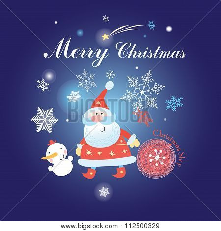 Christmas Background With Santa Claus And Snowman