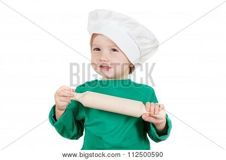Laughable Little Boy Kneading Dough For The Cookies, Isolated On White