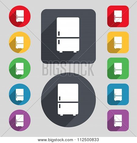 Refrigerator Icon Sign. A Set Of 12 Colored Buttons And A Long Shadow. Flat Design.