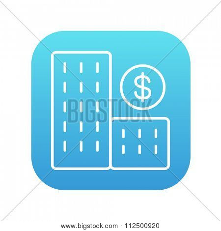 Condominium with dollar symbol line icon for web, mobile and infographics. Vector white icon on the blue gradient square with rounded corners isolated on white background.