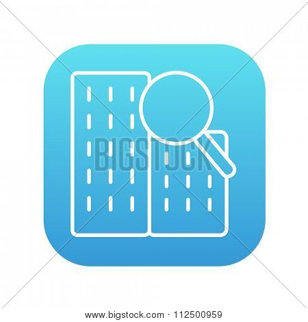 Condominium and magnifying glass line icon for web, mobile and infographics. Vector white icon on the blue gradient square with rounded corners isolated on white background.