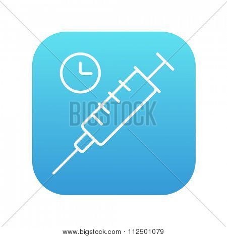 Syringe with clock line icon for web, mobile and infographics. Vector white icon on the blue gradient square with rounded corners isolated on white background.