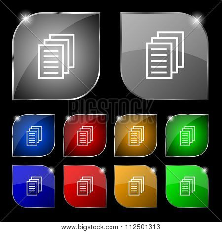Copy File, Duplicate Document Icon Sign. Set Of Ten Colorful Buttons With Glare.