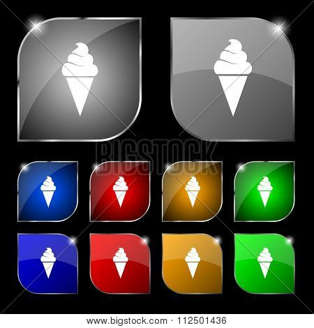 Ice Cream Icon Sign. Set Of Ten Colorful Buttons With Glare.