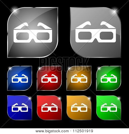 3D Glasses Icon Sign. Set Of Ten Colorful Buttons With Glare.