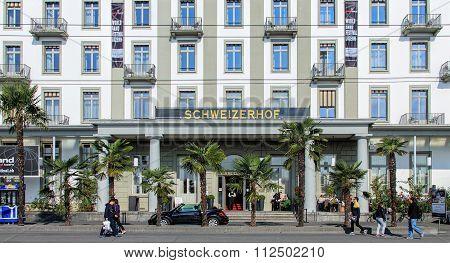 Entrance Of The Hotel Schweizerhof In Lucerne