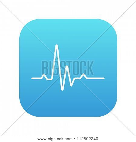 Hheart beat cardiogram line icon for web, mobile and infographics. Vector white icon on the blue gradient square with rounded corners isolated on white background.