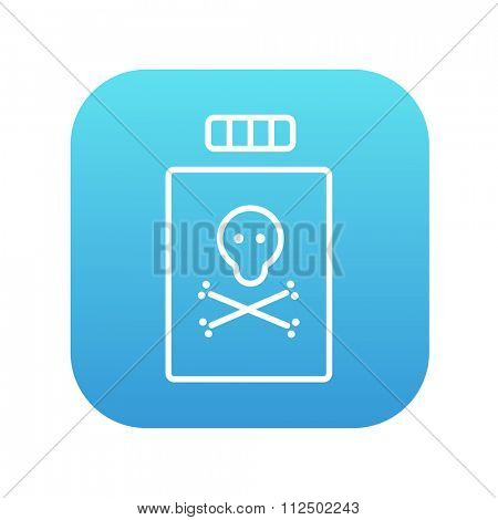 Bottle of poison line icon for web, mobile and infographics. Vector white icon on the blue gradient square with rounded corners isolated on white background.