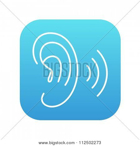 Human ear line icon for web, mobile and infographics. Vector white icon on the blue gradient square with rounded corners isolated on white background.
