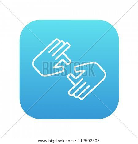 Finger language line icon for web, mobile and infographics. Vector white icon on the blue gradient square with rounded corners isolated on white background.