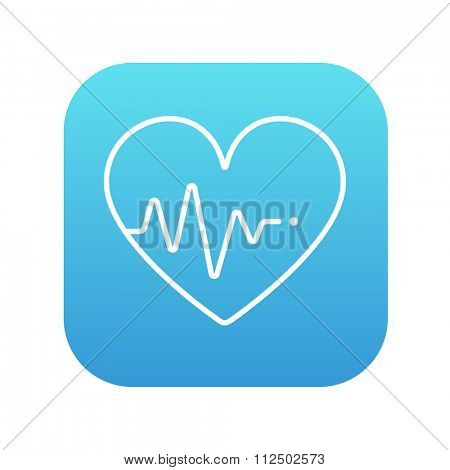 Heart symbol with cardiogram line icon for web, mobile and infographics. Vector white icon on the blue gradient square with rounded corners isolated on white background.