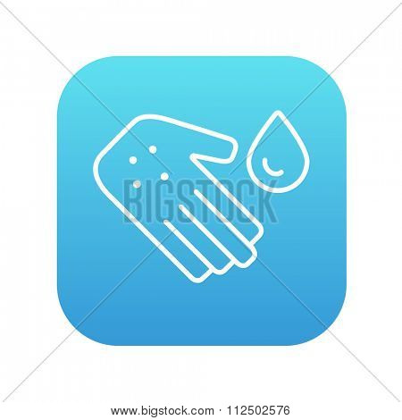 Hand with microbes and water drop line icon for web, mobile and infographics. Vector white icon on the blue gradient square with rounded corners isolated on white background.