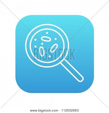 Microorganisms under magnifier line icon for web, mobile and infographics. Vector white icon on the blue gradient square with rounded corners isolated on white background.