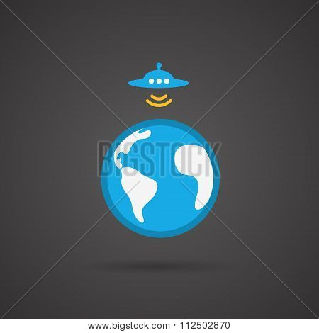 UFO. Earth vector icon on black  background.