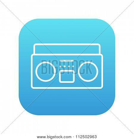 Radio cassette player line icon for web, mobile and infographics. Vector white icon on the blue gradient square with rounded corners isolated on white background.