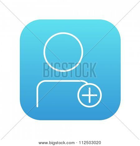 User profile with plus sign line icon for web, mobile and infographics. Vector white icon on the blue gradient square with rounded corners isolated on white background.