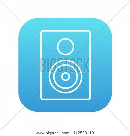 MP3 player line icon for web, mobile and infographics. Vector white icon on the blue gradient square with rounded corners isolated on white background.