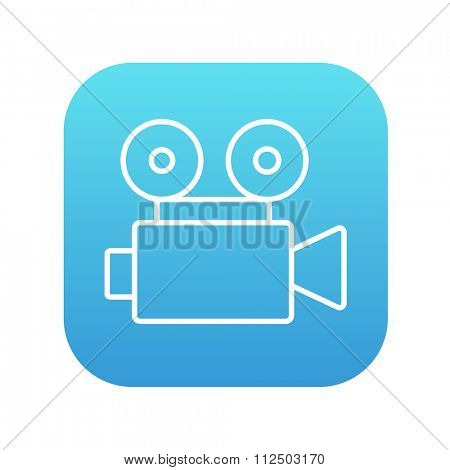 Video camera line icon for web, mobile and infographics. Vector white icon on the blue gradient square with rounded corners isolated on white background.