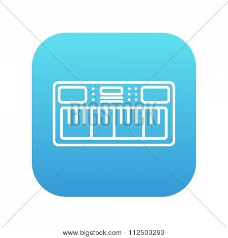 Synthesizer line icon for web, mobile and infographics. Vector white icon on the blue gradient square with rounded corners isolated on white background.