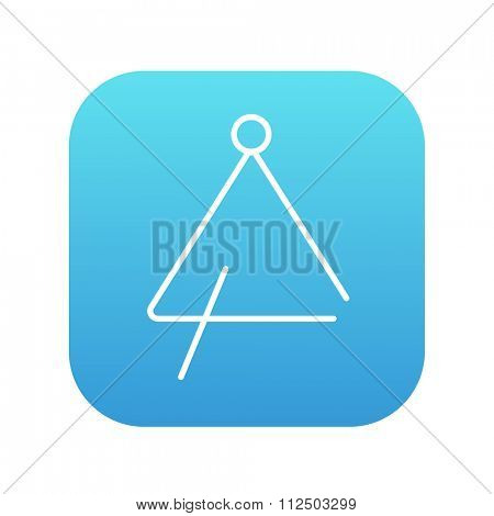 Triangle line icon for web, mobile and infographics. Vector white icon on the blue gradient square with rounded corners isolated on white background.