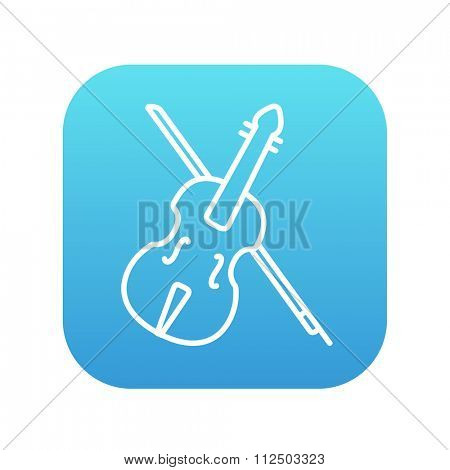 Violin with bow line icon for web, mobile and infographics. Vector white icon on the blue gradient square with rounded corners isolated on white background.