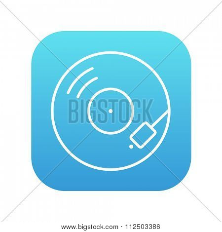 Turntable line icon for web, mobile and infographics. Vector white icon on the blue gradient square with rounded corners isolated on white background.