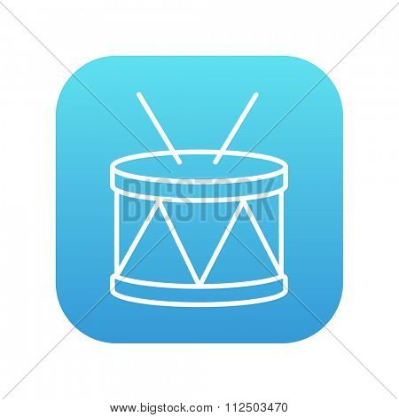 Drum with sticks line icon for web, mobile and infographics. Vector white icon on the blue gradient square with rounded corners isolated on white background.