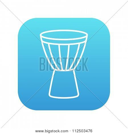 Timpani line icon for web, mobile and infographics. Vector white icon on the blue gradient square with rounded corners isolated on white background.